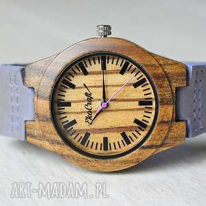 drewniany damski zegarek phaesant lawenda - drewniany, zegarek, lekki, damski, elegancki