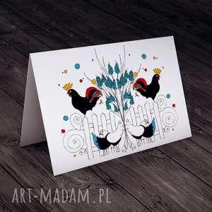 Karteczka z kogutem..., wielkanoc, folklor, kogut, życzenia