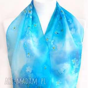 chustki i apaszki apaszka jedwabna niezapominajki niebieska w kwiaty na prezent