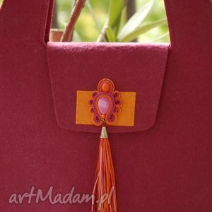 torebka z filcu, soutache, amarant, filc, filcowa, kolorowa, sznurek