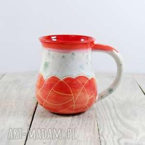 kubek sgraffito czerwony, kawa, herbata, ceramiczny, prezent, dzień ojca, do