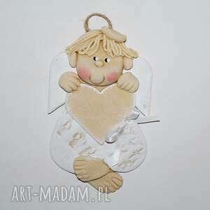 dla józia - aniołek z sercem, anioł, masa solna, prezent, serce, dedykacja