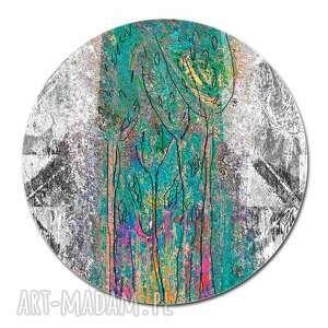 Obraz szklany abstrakcyjny las, średnica 70 cm nowoczesny obraz
