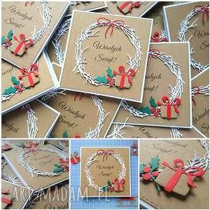 kartka świąteczna z jemiołą, święta, eko, prezent, wieniec, wyjątkowa