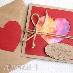 kocham cię :: cosmic heart kartka handmade, serce, kosmos, miłosna, walentynkowa