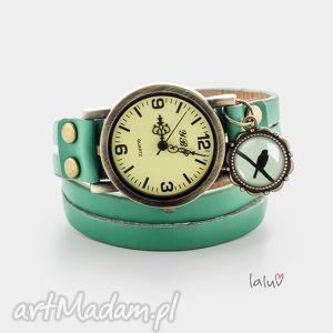 Skórzany zegarek ptak laluv czas, wskazówki, wolność, skóra