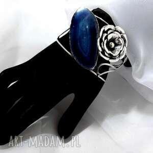 unikatowa srebrna bransoleta z kamieniem agat niebieski rękodzieło, bransoletka