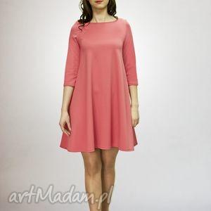 7 - sukienka malinowa, sukienka, sukienki, dzianina, rozkloszowana, trapez, mini