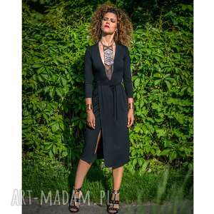 sukienki monica - black night, elastyczna, kopertowa, elegancka