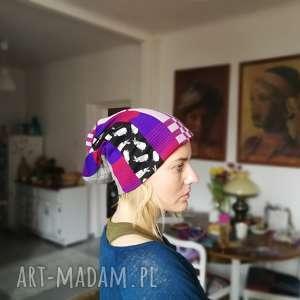 zara dzianina czapka unisex bieganie sport rekonwalescencja - patchwork, etno, czapka