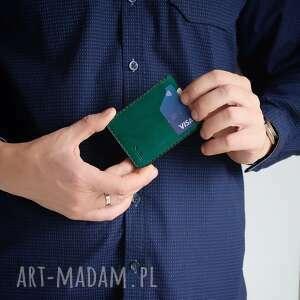portfel skórzany ręcznie szyty na karty, męski skórzany