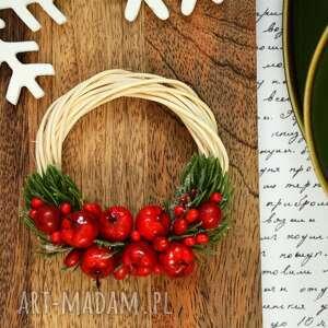 prezent na święta, wianek, jabłko, choinka, stroik, obręcz, pierścień