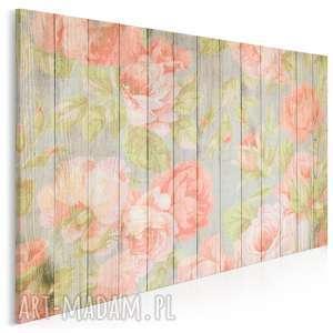 vaku dsgn obraz na płótnie - kwiaty drewno prowansalski 120x80 cm 88001