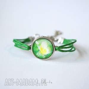 bransoletka - sznureczki, motyl, zielona, sznurki, bransoletka, energia
