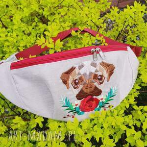 floral pug - handmade