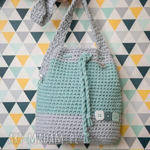 melanż mięta - plecak, worek, torba z bawełnianego sznurka, rękodzieło, sznurek