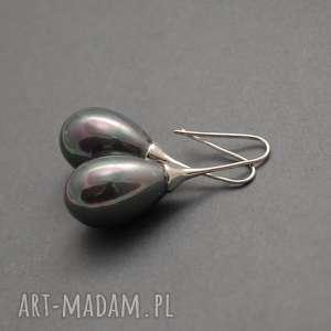 kolczyki z perłą seashell, perła, eleganckie, wiszące, wieczorowe, długie