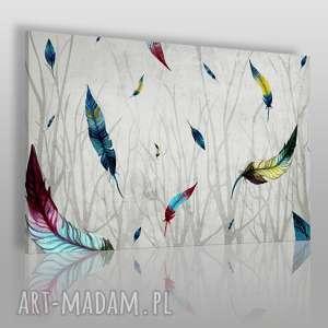obraz na płótnie - pióra gałęzie 90x60 cm 46701/90x60, pióra, gałęzie, kolorowy