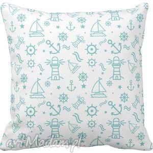 Poszewka na poduszkę dziecięca żaglówki w stylu marynarskim 3052 , poszewka,