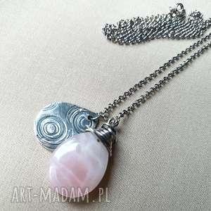 naszyjnik ze srebra z różowym kwarcem - srebro, oksydowane, delikatne, kobiece