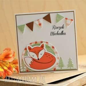 prezenty na święta, kartka urodzinki, roczek, lisek, motyw