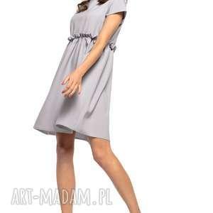 Sukienka marszczona pod biustem, T266, szary, urocza, sukienka, marszczona,