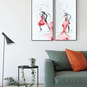 zestaw 2 obrazów 30 x 60 cm abstrakcja taniec, ręcznie malowany, czerwony