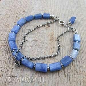 hand-made bransoletki bryłki kyanitu z łańcuszkiem
