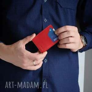 portfel skórzany na karty ręcznie szyty, męski skórzany