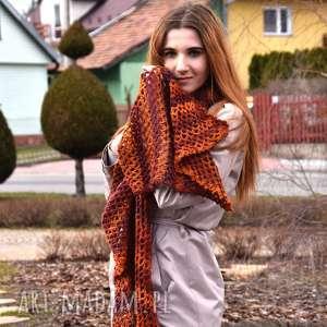 szaliki wielki szal ażurowy w rudościach, szal, szalik, ażurowy, ażur, prezent