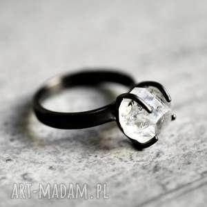 pierścionki rodowany pierścionek diamenty z herkimer, kamień, diament, prezent