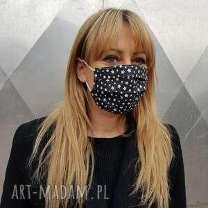 maseczka w gwiazdki czarna kosmetyczna maska ochronna szpitalna bawełniana