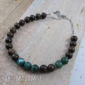 Bronzyt z zielonym agatem - naszyjnik, bronzyt, agat, srebro