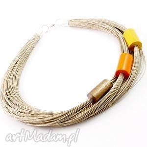 handmade naszyjniki naszyjnik lniany moxe - len
