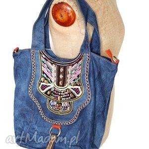 torba jeansowa wyszywana bohemian, etno, haft, boho, cekinu, jeans, dżins