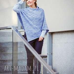 poncho ponczo jasnoniebieski melanż, wełniane, narzutka damska, sweter