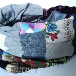komin patchworkowy zimowy boho handmade kolorowy ciepły, komin, etno, zimowy, ciepły