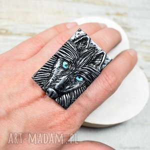 duży, oryginalny pierścionek wilk, duży pierścionek, wilk