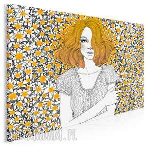 Obraz na płótnie - DZIEWCZYNA PORTRET KWIATY 120x80 cm (90101), dziewczyna, piegi