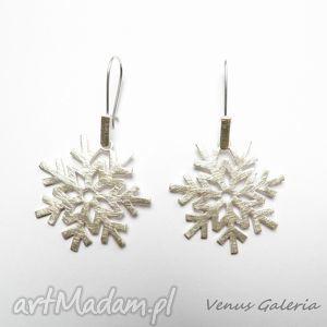 kolczyki śnieżynki białe - srebrne, kolczyki, srebro, biżuteria, venus