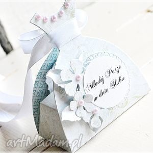 Pudełeczko ślubne - podarunek pieniężny scrapbooking kartki