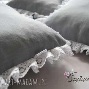 Lniane poduszki ozdobione bawełnianą koronką 2szt-100% włókna pochodzenia roślinnego