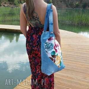Duża Torba z Jeansu Sercem w Kwiaty, torba, bag, torba-na-ramię, dżins, jeans