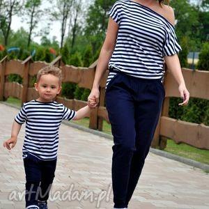 Marynarski komplet dla mamy i syna spodnie mrugala komplet, mama