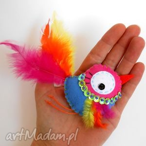 ptasio - broszka z filcu, filc, ptak, pióra, broszka, prezent, rękodzieło broszki