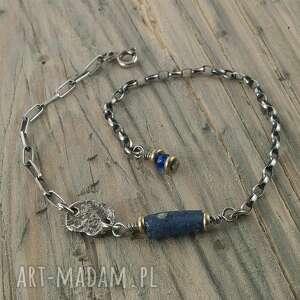 hand-made bransoletka srebrna szkło afgańskie antyczne