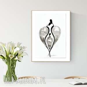 grafika wykonana ręcznie A3, abstrakcja, elegancki minimalizm, obraz do salonu
