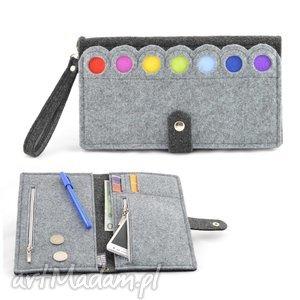 duży portfel saszetka filcowy z kropkami- xxl, saszetka, portfel, kopertówka