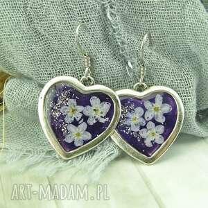 0938/kolczyki serca z żywicy niezapominajki fiolet, kolczyki, serca, kwiaty