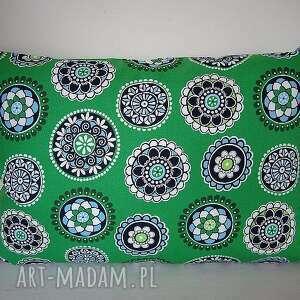 zielona poduszka w kolorowe kółka vintage, vintage poduszki